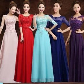 Red blue purple pink long sleeve wedding dress RBB