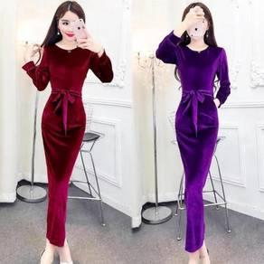 Red purple black green velvet long sleeve dress