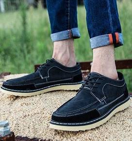 S0238 Black Retro Business Dock Boat Kasut Shoes