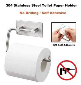 304 Stainless Steel Adhesive Toilet Paper Holder