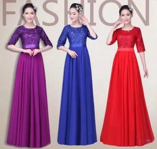 Red purple blue long sleeve prom dress RBBD0097