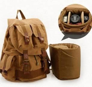 9252 Retro Brown Large Travel Cameras Bag Backpack
