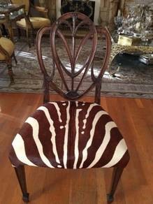 Zebra Skin dining lounge chair Hand Carved