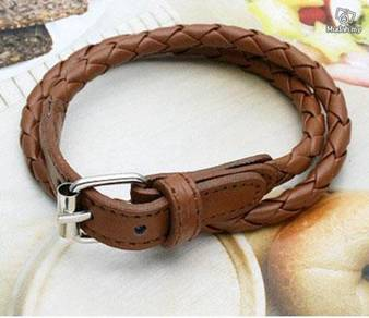 ABBSM-L001 Weaved Leather Double Wrap Belt Bracele