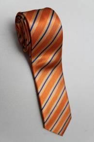 SLIM Orange Blue Top Quality Striped Neck Tie