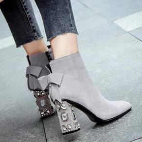 Black grey diamond boots high heels RBH0194