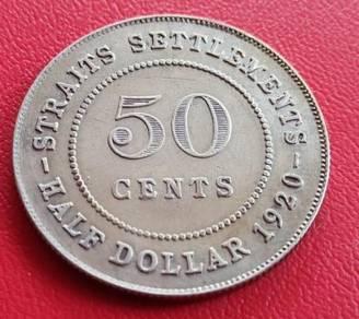 Straits Settlements HALF DOLLAR/50 Cents 1920 (B)