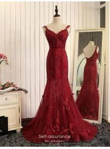 Red bodycon fishtail wedding prom dress RBP0898
