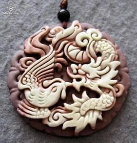 ABPJ-D011 2Layer Stone Dragon Phoenix Love Pendant