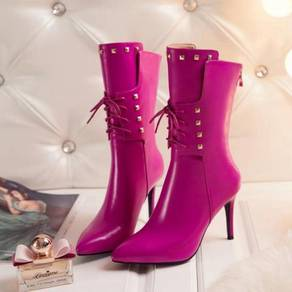 Pink white red black boots high heels RBH0196