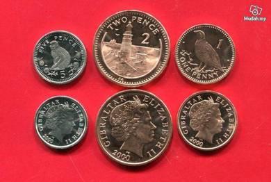 GIBRALTAR coins 1 2 5 PENCE 2000 3 pcs unc