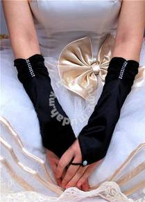 AG016-1 Black Satin Pleated Fingerless Gloves