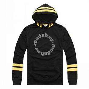 S0119 Black Hooded Pullover Hitam Sweater Shirt