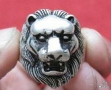 ABRSM-L001 Cool Lion Face Head Silver Metal Ring 6