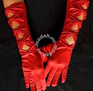 AG022-1 Sexy Red Satin Gloves