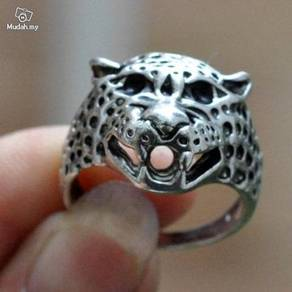 ABRSM-L007 Leopard Face Head Silver Metal Ring 11