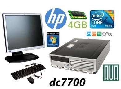 Hp dc7700 + monitor office PC set Core2Duo 4GB RAM