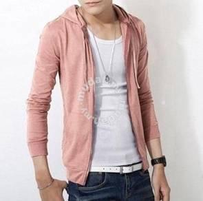 0376 Light Pink Korean Hoodie Sweater Man Jacket