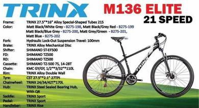 New Trinx M136 Elite Mountain Bike MTB + Freegift