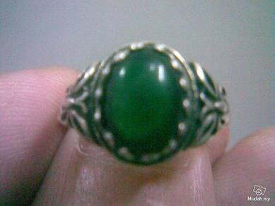 ABRSM-O001 Green Round Onyx Silver Metal Ring S6.5