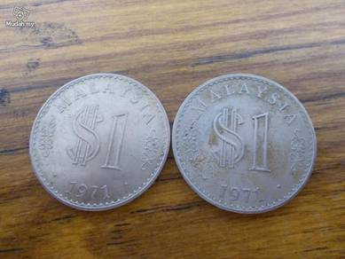 Set of malaysia 1971 one dollar coin