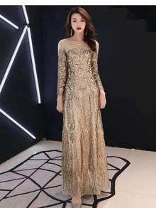 Gold long sleeve sequin wedding prom dress RBP0897
