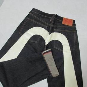 Evisu W31 L34 Diacock putih Selvage jeans
