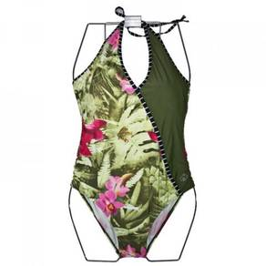 S126 Green Floral One Piece Swimsuit Swimwear XL