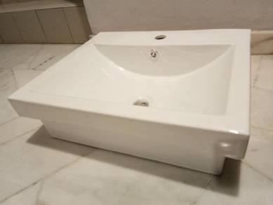 Rectangular semi-recessed vanity ceramic basin