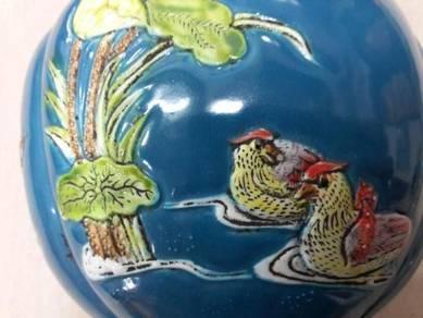 Chinese Porcelain Vase Emboss Mandarin Duck