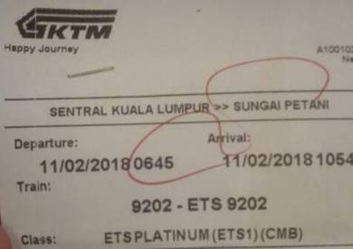 ETS Train ticket from sentral kl to sungai petani