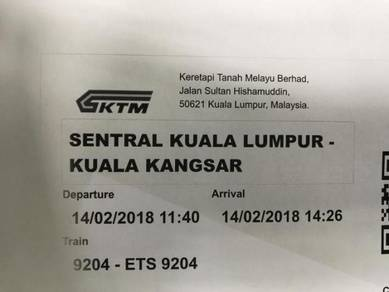Tiket ETS dari KL Sentral ke Kuala Kangsar