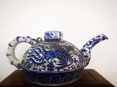 Blue Ceramic Qinhua Teapot Phoenix,
