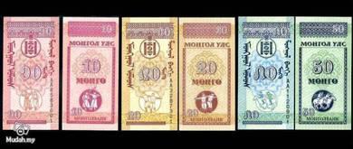 MONGOLIA 3 UNC NOTES10, 20, 50 mongo