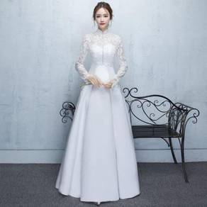 Classic Long Sleeve Lace Satin Wedding Dress Gown