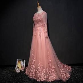 Cameo Pink Long Sleeve Lace Wedding Dress