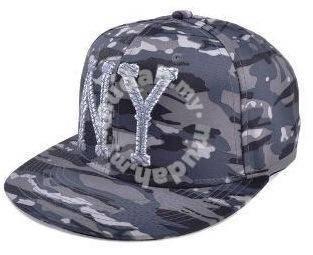 Dark Grey Camouflage Flat-Brimmed Snapback Cap Hat