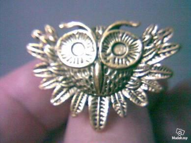 ABRB-O003 Retro Style Bronze Big Eyes Owl Ring