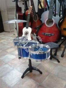 Drum Set 3 pcs (Colour: Blue) With Stool