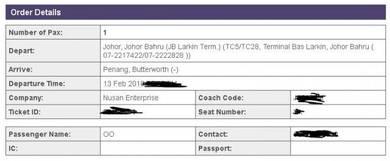 CNY bus ticket Larkin to Butterworth 14 Feb 2018
