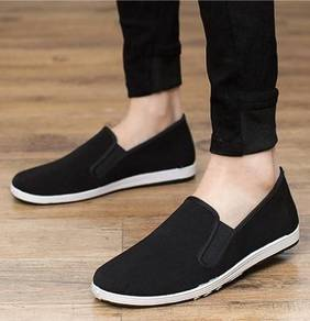 S0268 Black Simple Man Canvas Slip On Casual Shoes