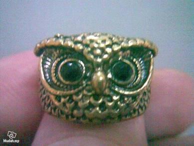 ABRB-O002 Retro Style Bronze Owl Head Ring Sz 7.5