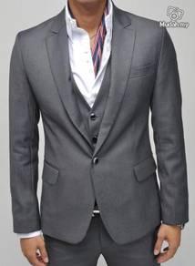 Korean luxury crystal buttoned slim blazer grey