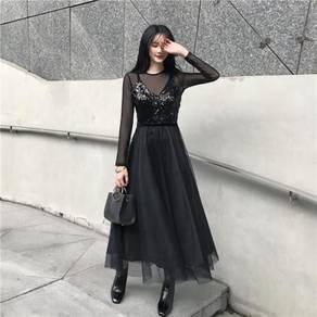 Black sequin long sleeve prom dress RBP0908