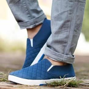 S0248 Blue Canvas Simple Slip On Loafer Men Shoes