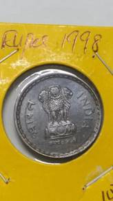 Vintage India 5 Rupee Copper Coin 1998