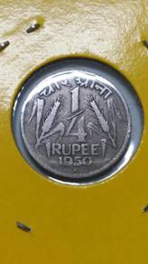 Vintage India 1/4 Rupee Coin 1950