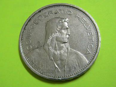 Switzerland 5 Francs Coin 1980 Confoederatio Helve