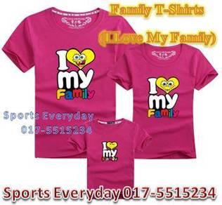 Family Shirt Couple T Baju Keluarga I Love Family1