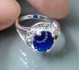 ABRS9-B007 Silver 925 Wedding Big Blue CZ Ring Sz7